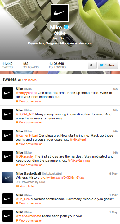 Nike @ reply tweets are amazing